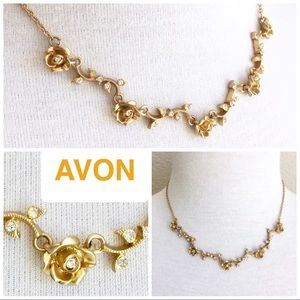 💕 AVON goldtone necklace rose & rhinestone links